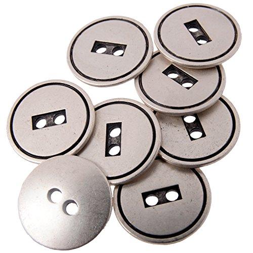Zinc Diecast Metal Button - Rectangular 2 Hole Center with Concaved Edge - 32Line - Antique Silver Rectangular Wood Beads