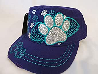 Purple Cap For Ladies With Paw Prints