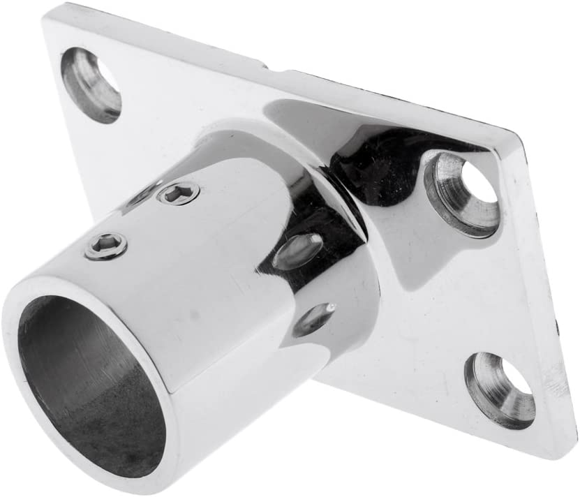 Heavy Duty Rectangular Base Accessories for 1-inch 25mm Tube Marine 316 Stainless Steel 2x 90 Degree Boat Deck Hand Rail Fitting