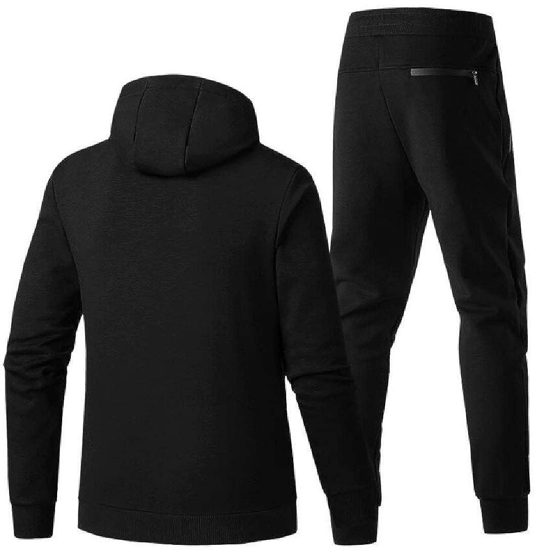 Generic Mens Winter Thicken Hooded Sweatshirt Top Pants Sets Sports Suit Tracksuit