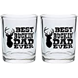 Funny Shot Glasses Best Buckin' Dad Ever Father's Day Gift for Dad Gag Gift Shot Glasses 2-Pack Round Shot Glass Set Black
