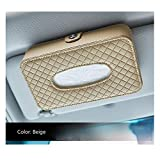 Car Hanging up Sun Visor Tissue Box,PU Leather Napkin Holder (Beige)