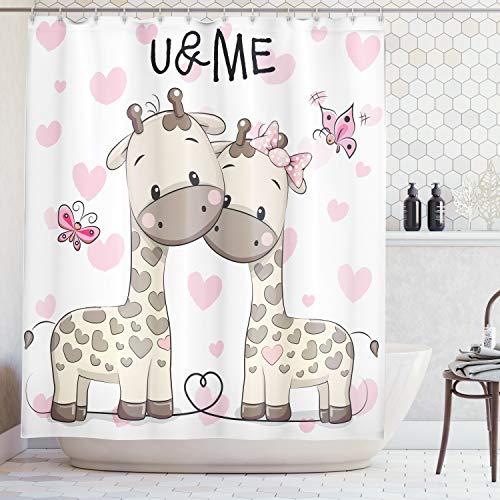 Ambesonne Animal Shower Curtain, Cute Giraffes Baby in