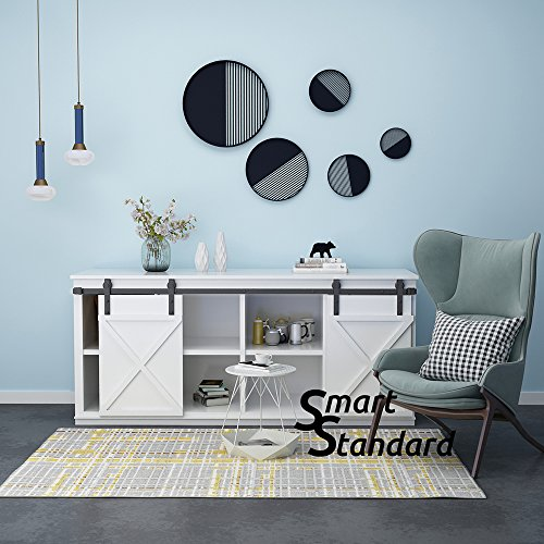 SMARTSTANDARD Mini Cabinet 6.6ft Double Door Sliding Barn Door Hardware For Cabinet TV Stand Wardrobe(Black) (Mini J Shape Hangers) (1 x 6.6 foot Rail) Double Wardrobe