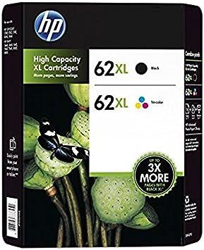 HP 62XL cartucho de tinta Original Negro, Cian, Magenta, Amarillo Multipack 2 pieza(s) - Cartucho de tinta para impresoras (Original, Tinta a base de pigmentos, Negro, Cian, Magenta, Amarillo, 2 pieza(s), F6U02BN,