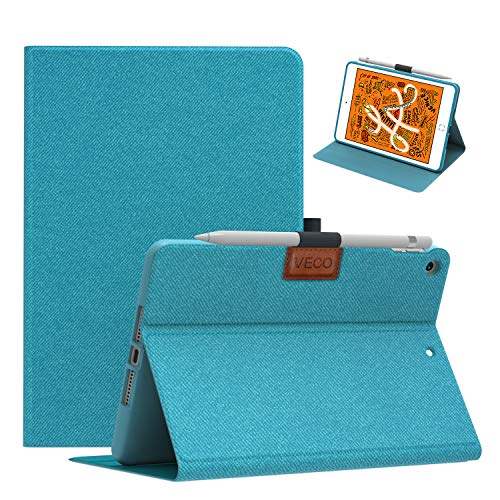 Veco iPad Mini 5 Case with Pencil Holder, Denim Series - Premium Shockproof Case, Soft TPU Back Cover, Flip Stand Front Cover with Auto Sleep/Wake Feature for Apple iPad Mini 5th Generation(Blue)
