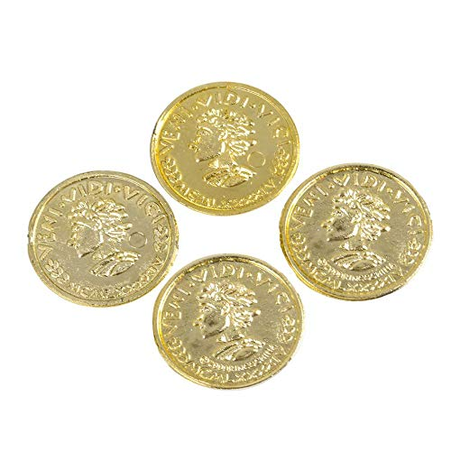 Mozlly Novelty Pirate Gold Plastic Coins - Bulk Fake Money Pretend Toy Tokens for St Patricks Day, Casino or Mardi Gras Themed Parties or Leprechaun Pot of Gold Trap Supplies for Kids (144pc Set) -
