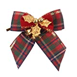 Iusun Christmas Bow with Iron Bells Wreath Xmas Tree Decorations Hanging Wooden Ornament Wall Pendant Window Dressing DIY Decor for Wedding Party Holiday New Year (D)