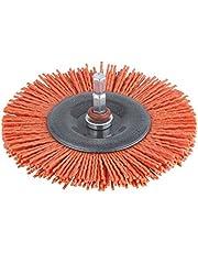 Wolfcraft 1502000 - Cepillo de disco de nylon, vástago 6.35 mm, diámetro de 100 mm, agresivo, color rojo