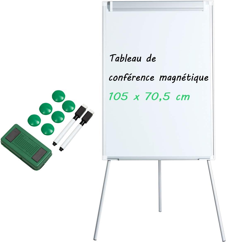 105 x 70,5 cm Hauteur R/églable 97,5-163CM Accessoires Complets COSTWAY Tableau Blanc Magn/étique sur Tr/épied Surface Laqu/ée Aimant/ée Cadre en Aluminium dAlliage