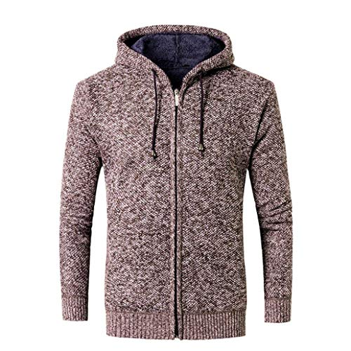 Sunhusing Men's Autumn Winter Solid Color Hooded Sweater Casual Jacket Cardigan Blouse Top ()