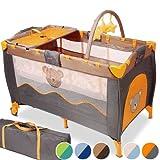 Infantastic® - KRB02newdesign - Cuna de viaje - Honey Bear gris/naranja - Incluye colchón, cambiador, bolsa de transporte - Diferentes colores a elegir