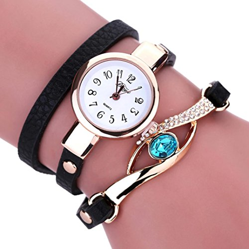 Bolayu Women Diamond Wrap Around Quartz Wrist Watch (Black) (Armitron Watches Women Diamond)