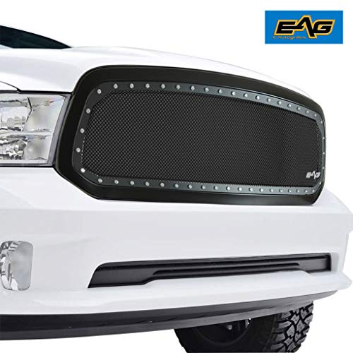 EAG Black Mesh Grille Front Upper Black SS Wire Mesh Rivet Matte Black ABS Shell for 13-18 Dodge Ram 1500