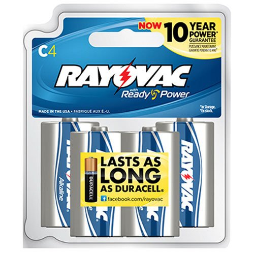 Rayovac 814-8RBPF Alkaline Reclosable C Batteries
