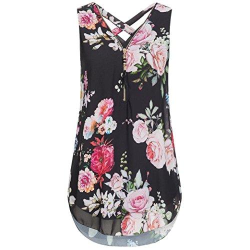 iTLOTL Women Loose Flowers Chiffon Sleeveless Tank V-Neck Zipper Hem Scoop TShirts Tops(US:8/CN:M, Black)