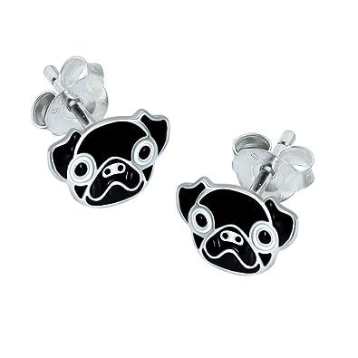 Pug Head Earrings - Sterling Silver 2pAPdxl9zf