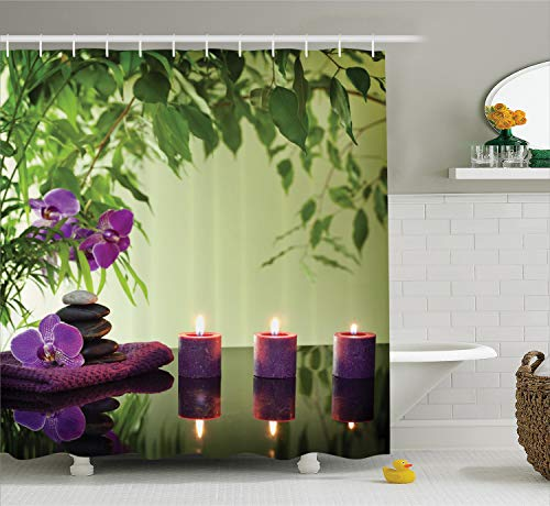 Ambesonne Spa Shower Curtain, Stones Aromatic Candles and Orchids Blooms Treatment Vacation, Cloth Fabric Bathroom Decor Set with Hooks, 70