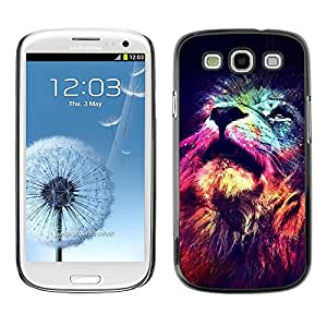 Be Good Phone Accessory // Dura Cáscara cubierta Protectora Caso Carcasa Funda de Protección para Samsung Galaxy S3 I9300 // lion cosmos deep universe space king