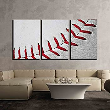 Etonnant Wall26   3 Piece Canvas Wall Art   Baseball Seams Extreme Close Up Of Red  Baseball