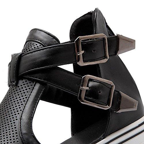 AllhqFashion Mujeres Puntera Abierta Mini Tacón Material Suave Sólido Cremallera Sandalia Negro