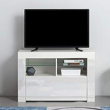 Moderno Soporte de TV con Luces LED para Sala de Estar, Muebles, armarios de TV y Puertas de Alto Brillo, aparador Mate NO LED Blanco: Amazon.es: Electrónica