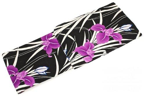 さまよう除外する菊レディース浴衣 花火大会 夏祭り 女性用 bonheur saisons(ボヌールセゾン) Sweet L'Embrllir(スイートランベリー) 黒 ブラック 明るい紫 パープル ピンクマゼンタ 菖蒲 綿 フリーサイズ