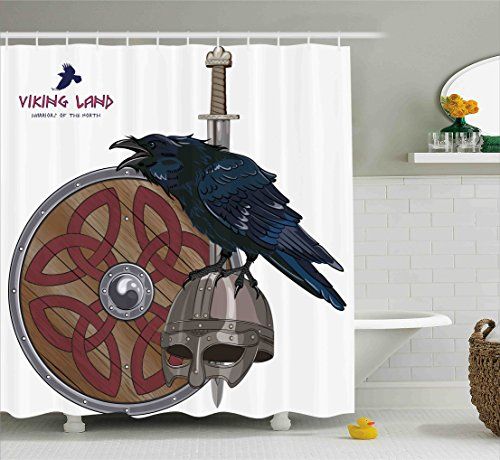 Ambesonne Viking Shower Curtain Set by, Raven on Steel Helmet Nordic Sword Shield Scandinavian Army Medieval Armour, Fabric Bathroom Decor with Hooks, 75 Inches Long, Dark Blue Grey and Caramel