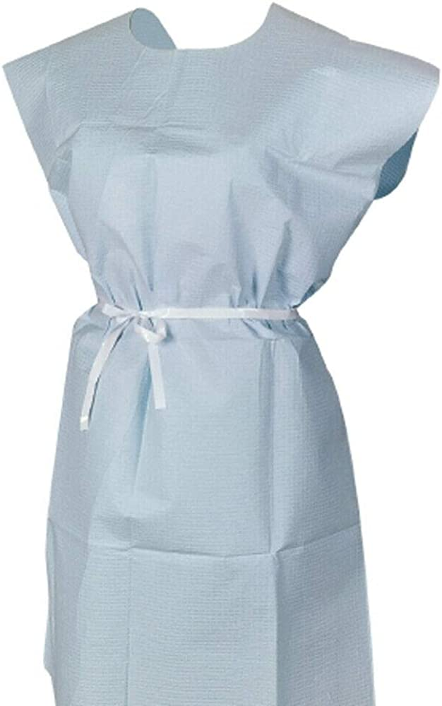 McKesson Branded Blue Adult Disposable Exam Gown 30 X 42 Inch - Lot of 50
