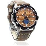 """The Castaway"" Hawaiian Koa Wood Watch (47mm, Chrome & Leather)"