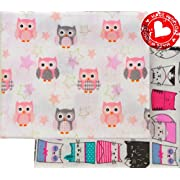 Fall Sale! Flannel Receiving Blankets Large Soft Organic Cotton Swaddling Blankets Baby Girl Set 2, Owl Cat Pink White