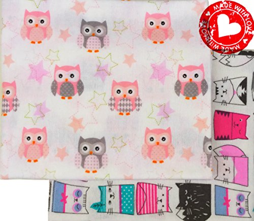Organic Cotton Flannel Pad - Summer Sale! Flannel Receiving Blankets Large Soft Organic Cotton Swaddling Blankets Baby Girl Set 2, Owl Cat Pink White