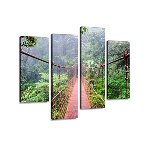 (Bridge in Monteverde Rainforest in Costa Rica Canvas Wall Art Hanging Paintings Modern Artwork Abstract Picture Prints Home Decoration Gift Unique Designed Framed 4 Panel)
