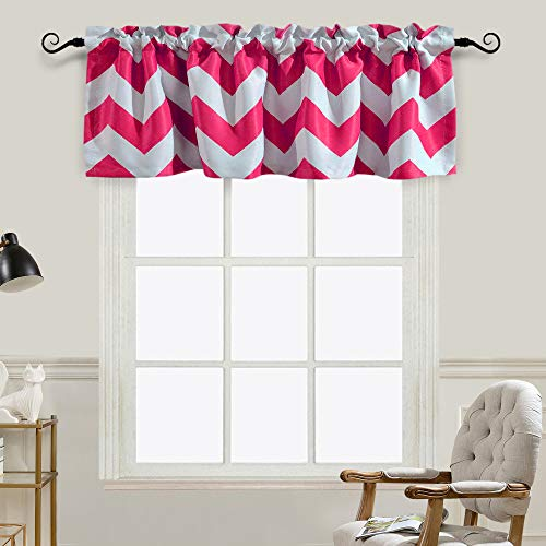 Melodieux Chevron Room Darkening Rod Pocket Window Curtain Valance for Bathroom, 52 by 18 Inch, Fuchsia (1 Panel) (Chevron Valance Pink)