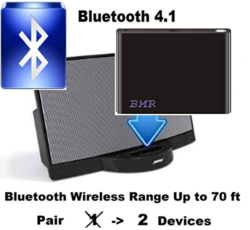 BMR A2DP 4.1 Bluetooth Music Receiver Adapter for Bose SoundDock, 30 pin Docking Station, iPhone, Samsung, Nokia, HTC, LG, Echo Alexa (Bose Bluetooth Wireless Adapter)
