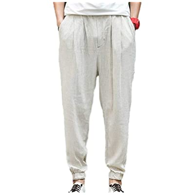 Pantalon Sarouel pour Homme Pantalon Taille Extensible Léger Élastique Unie  Couleur Pantalon Décontracté Oversize