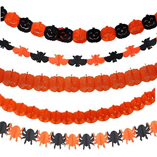 Halloween Banner Streamer Pumpkin Spider Banner Streamer Bat Ghost Paper Chain Festive Party Supplies Halloween -