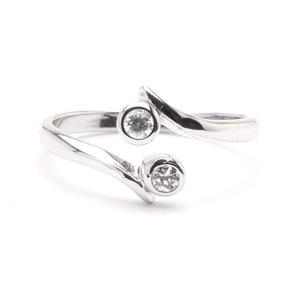 10k White Gold Toe Ring Clear Double CZ. Size Adjustable by Nose Ring Bling