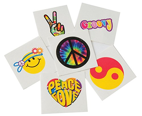 12 Indiviual Assorted Groovy Hippie 60s And 70s Themed Trick or Treat Tattoos]()
