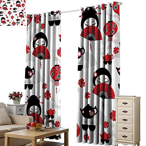 Beihai1Sun Shade Fabric Blackout Curtains Lantern Geisha Japanese Fan Ancient Chinese Traditional Tea Pot Lanterns Floral Graphic Design Black Red for Living Room Bed Room W108 x H84