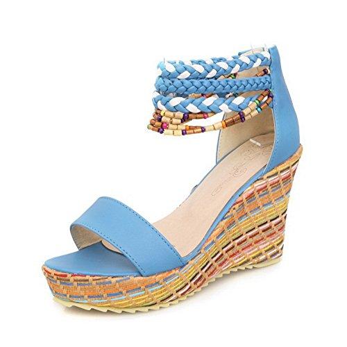 Sandales femme balamasa Bleu assorties couleurs pour cuir Imitation Fermeture Éclair P855wpxBq6