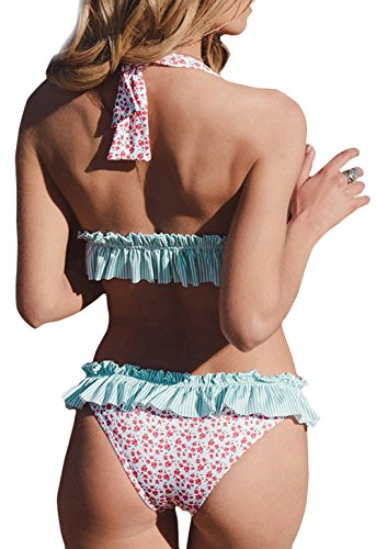 Womens Criss Cross Back Color Block Print Tankini Top with Boyshorts Swimsuit Pink and Blue L(US 12-14) by AONTUS (Image #2)