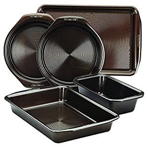 Circulon 46015 Nonstick Bakeware Set with Nonstick Cookie Sheet, Bread Pan, Bakings Pan and Cake Pans – 5 Piece, Chocolate Brown