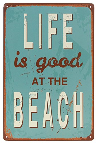 Life Is Good At Beach Tin Sign Wall Retro Metal Bar Pub Poster Metal 12