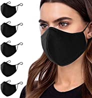5 Pcs Cotton Black Face Masks Washable, Face Covering with Breathable Comfort Loops, Size Fit Small Face, Reus