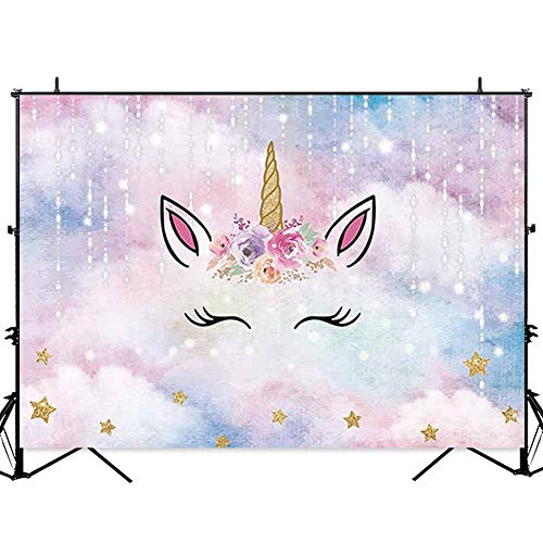 Allenjoy 7x5ft Unicorn Backdrop for Girls Photography Pink Sky Golden Horn Twinkle Stars Unicornio Birthday Party Background Baby Shower Dessert Table Banner Photobooth ()