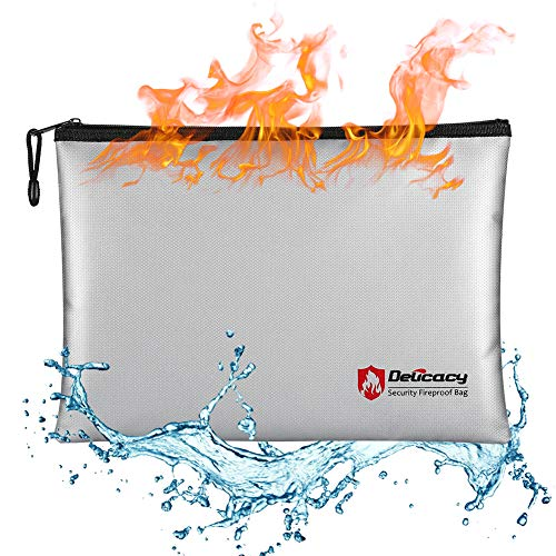 Delicacy Fireproof Document Bag A4 Size Non-Itchy Silicone Coated Fire & Water Resistant Money Bag Fireproof Safe Pouch Storage for Money,Documents,Jewelry,Passport