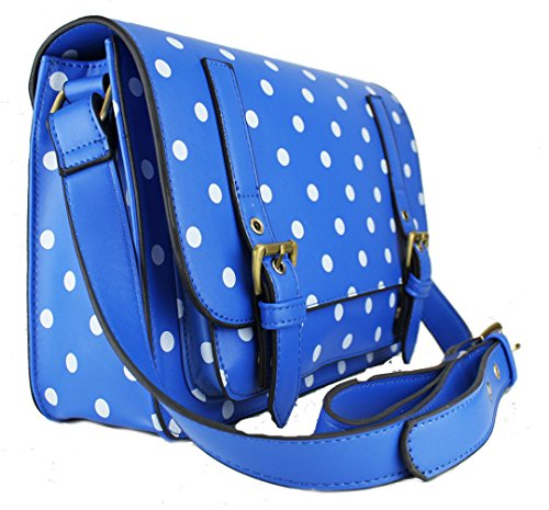 Miss Lulu Faux leather polka dot Medium Satchel Messenger bag handbag cross  body bag (1119D Blue): Amazon.co.uk: Shoes & Bags