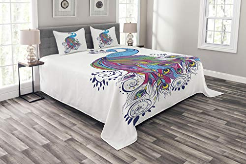 Lunarable Peacock Coverlet Set Queen Size, Colorful Fashion Artwork with Peacock Pattern Ornament Paisley Oriental Elements, Decorative Quilted 3 Piece Bedspread Set with 2 Pillow Shams, Multicolor