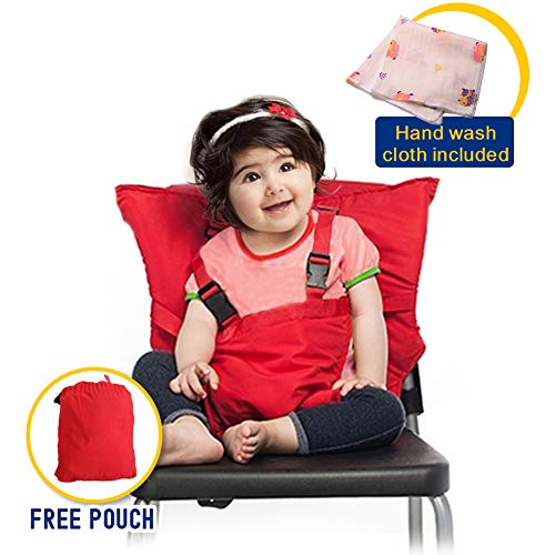 (Portable Travel High Chair Easy Seat for Baby Children Toddler Kids Feeding Eating with Adjustable Straps Shoulder Belt, Holds Up to 44lbs, Hand Wash Cloth Included )